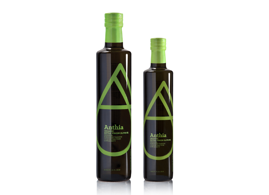 Anthia organic extra virgin olive oil packaging