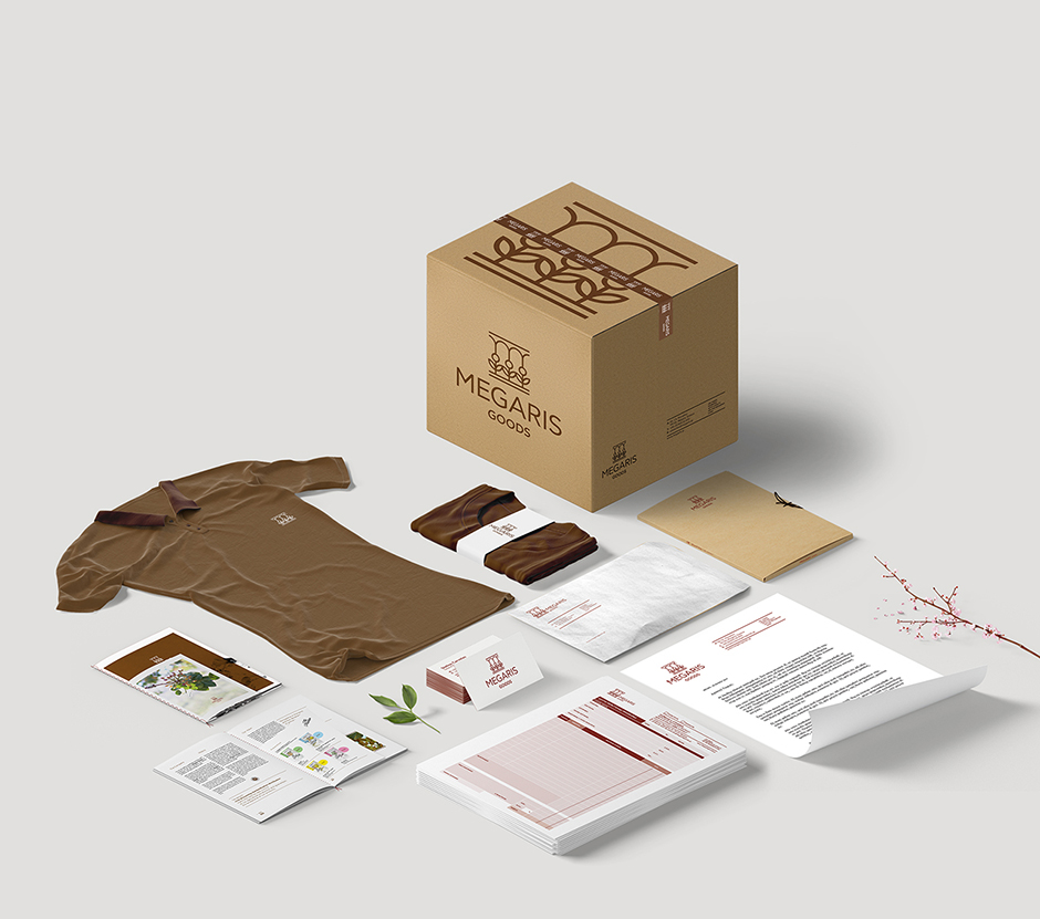 Megaris Goods branding, logo and identity design by @comebackstudio